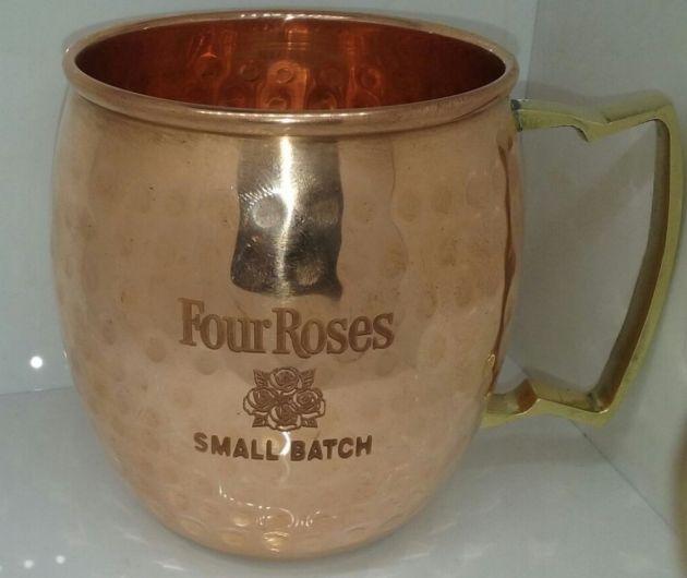 Jarra de cobre de la marca Four Roses, merchandising, grabado con máquina láser de metal YAG