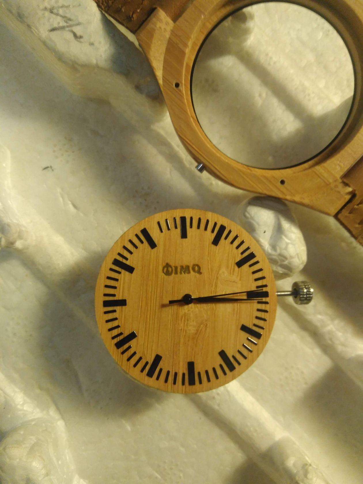 Esfera madera marcada láser CO2, gabación de relojes, relojes publicitario, personalización reloj