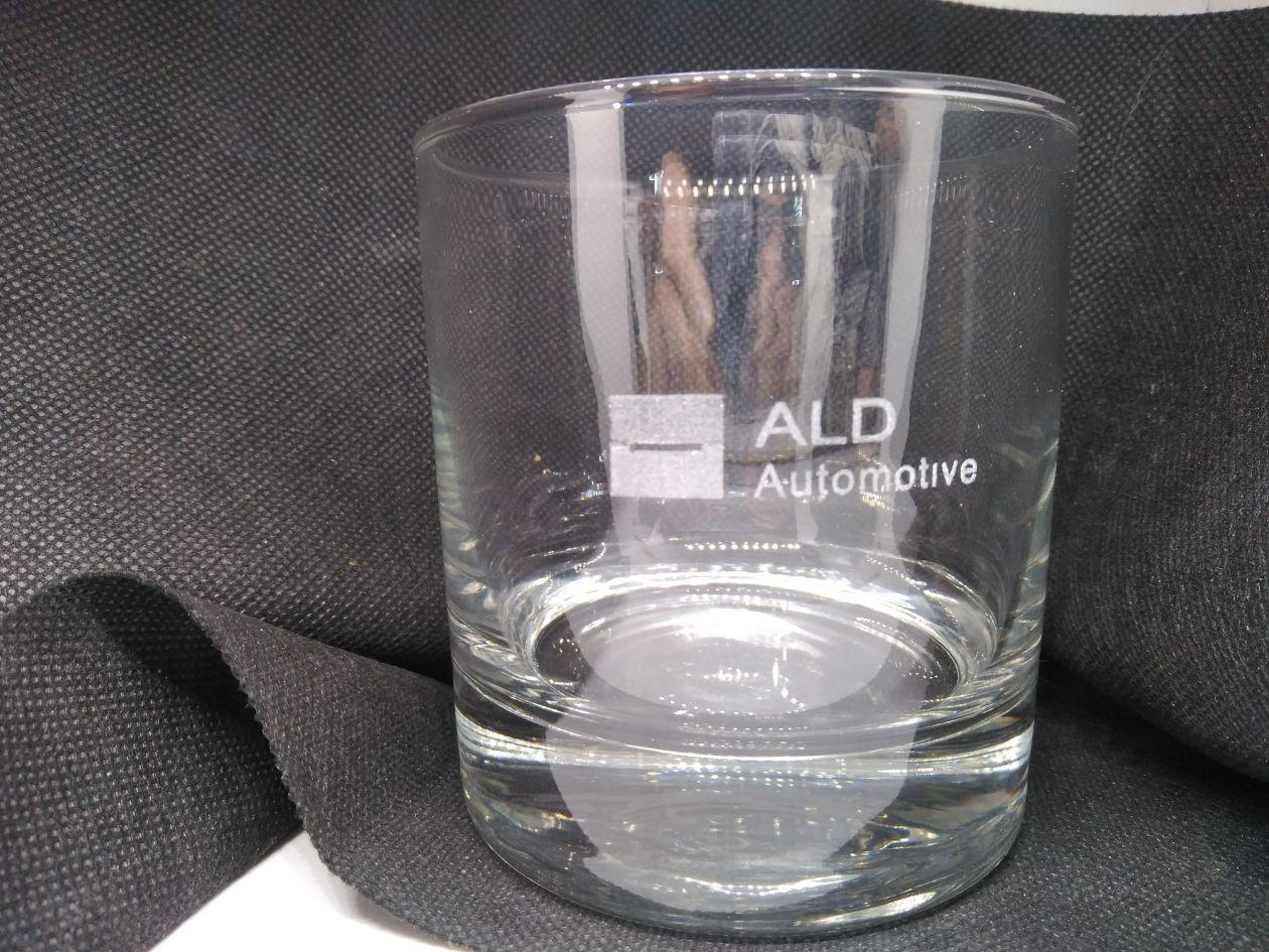 vaso de cristal con personalización de cliente